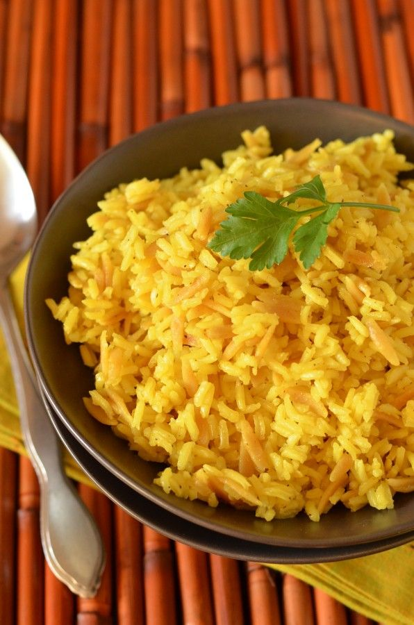 "This is my GO-TO Rice Pilaf recipe!! ""Copycat Near East Rice Pilaf"", made with Orzo Pasta, turmeric, garlic powder..."