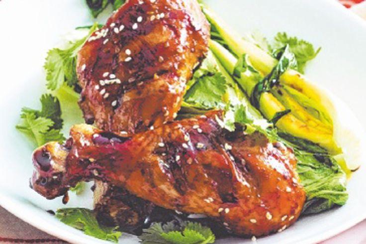 Honey and sesame glazed chicken drumsticks