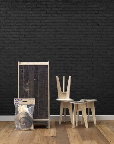 gorgeous but insanely expensive Black Brick Wallpaper design by Piet Hein Eek for NLXL | BURKE DECOR