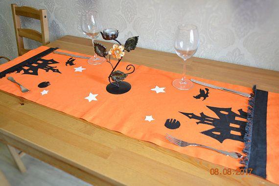 halloween orange tablecloth Sewn witch moon cotton textil
