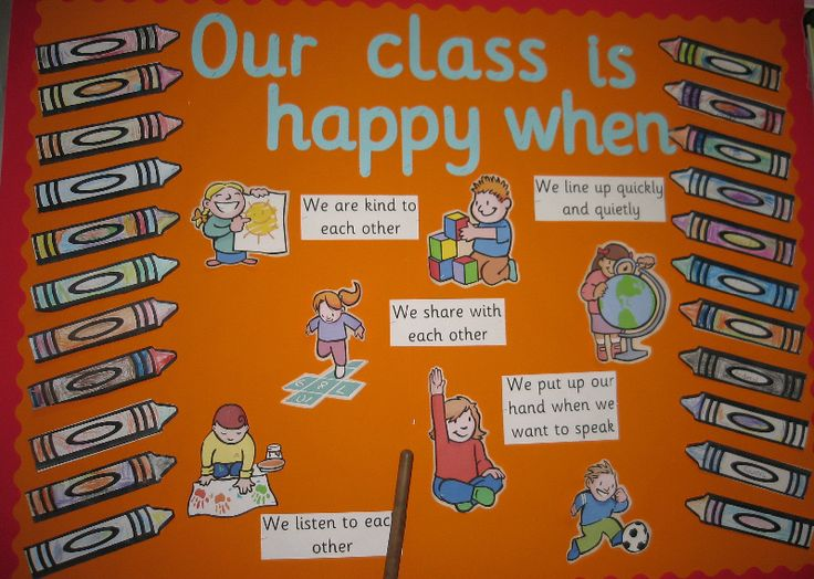 Different want to reflect class rules:: Our class is happy when... classroom display (source: SparkleBox)