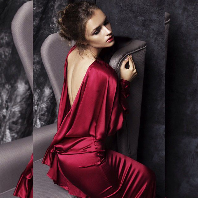 Desirable and alluring image is created by a sexy red silk dress by Isabel Garcia, which you will find in our online store.  Model @anastasia_bambina, photo @vazgi