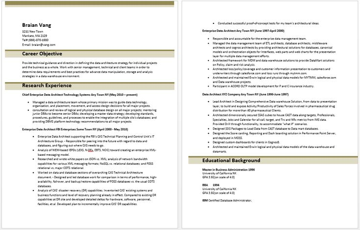 Enterprise Data Architect Resume Resume Templates Pinterest - database architect resume
