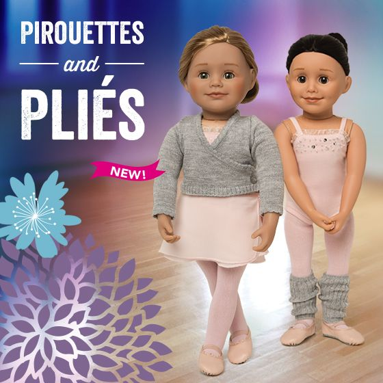 Pirouettes & Pliés - Your doll will be ready to spin and plie at ballet practice with this 10 piece outfit! Set includes a hand beaded and sequined bodysuit, 2 tier wrap skirt, wrap sweater, dance tights, leg warmers, embroidered bag, embroidered towel, ballet slippers and a bun maker. Learn some interesting facts about Canada's National Ballet in the accompanying journal pages.