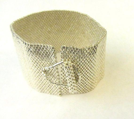 Silver Peyote Bracelet, seed beads bracelet, beaded bracelet, beaded jewelry