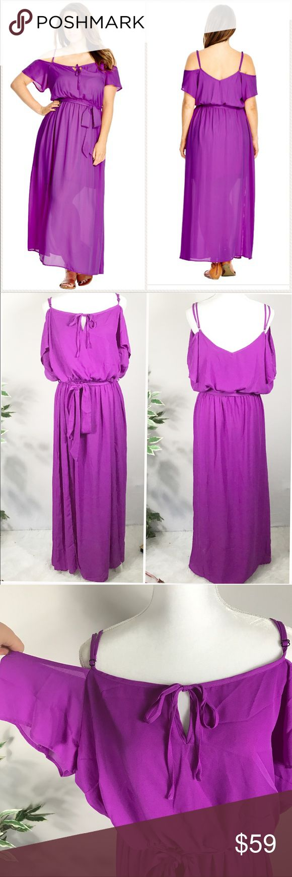 "20 plus size Cold Shoulder Maxi Dress purple solid Vibrant purple color energizes the floaty boho silhouette of a chiffon maxi dress that spotlights pretty shoulders and sun-kissed skin. A sash at the waist polishes the pretty style. Approx 36"" center front length . Elastic waist. (See size chart ) city chic L/20  Slips on over head. Split neck with ties. Adjustable shoulder straps. Short sleeves. Elasticized waist. Removable sash tie. Lined. 100% polyester. Machine wash cold, line dry City…"