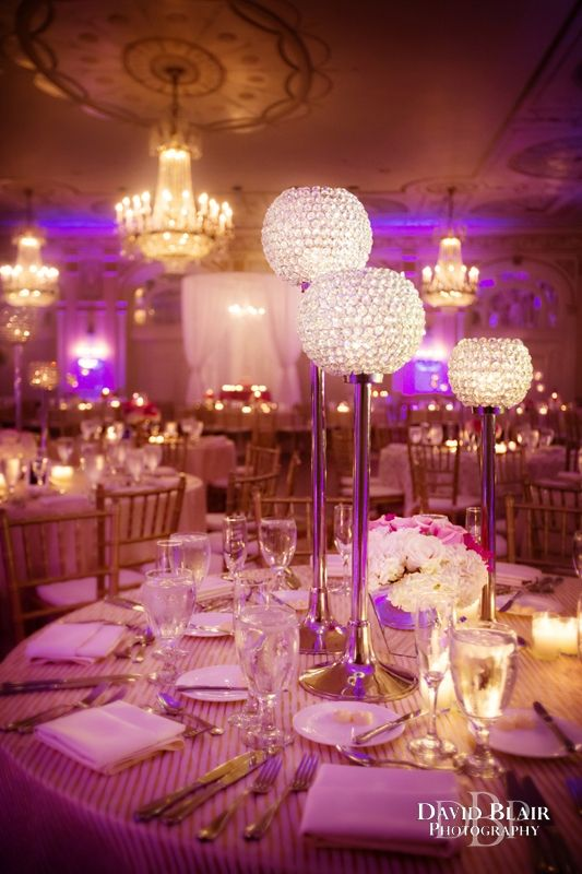 Crystal centerpieces for Ashley and Nathan's Wedding at the Brown Hotel in Louisville, Kentucky. Photo by Wedding Photographer David Blair.
