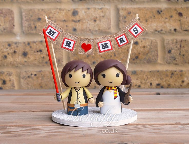 Star Wars Han Solo And Harry Potter Bride Wedding Cake Topper By GenefyPlayground