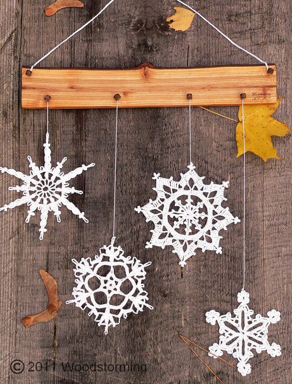 Christmas and winter ornament for cozy home - crochet snowflakes decoration on Wanelo
