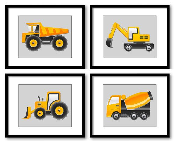 Light Grey Yellow Transportation Construction Vehicles Heavy Machinery Child Set of 4 Prints Boy Nursery Art Wall Decor Tractor Dump Truck