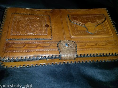Hand-Tooled-Purse-Leather-Mexico-Western-Cowgirl-Wallet-Valise-Vintage-70-s