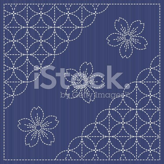 Sashiko motif - blooming cherry flowers and circles. Seamless backdrop. arte vettoriale stock royalty-free