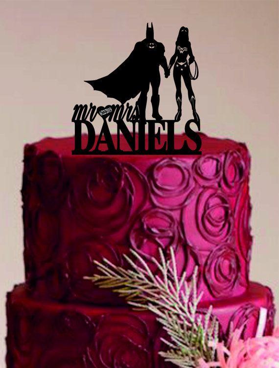 Batman And Wonder Woman Cake Topper Bride Groom Wedding Custom Unique Funny