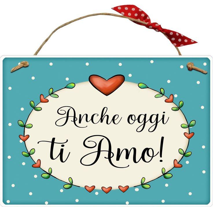 """targhetta """" anche oggi ti amo"""" idea regalo, artigianato italiano, made in Italy, con scritta spiritosa, appendi porta, fuori porta, fuori stanza, bomboniera, tavola country, targhetta con spago, amore: Amazon.it: Casa e cucina"""
