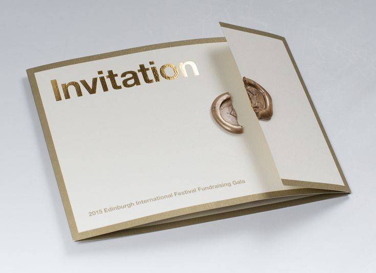 Edinburgh International Festival's Fundraising Gala invitation    This invitation for Edinburgh International Festival's Fundraising Gala performance and post-performance supper has been printed on a luxury 300gsm card, using gold ink only and with...
