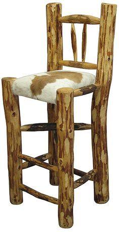 Rustic Kitchen Bar Stools   Rustic Log & Zapotec Collection - Rustic Log Bar Stool - EBT004