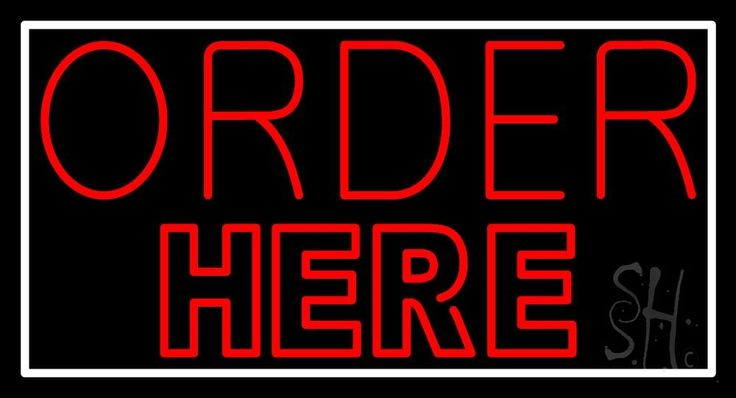 Double Stroke Red Order Here Neon Sign 20 Tall x 37 Wide x 3 Deep, is 100% Handcrafted with Real Glass Tube Neon Sign. !!! Made in USA !!!  Colors on the sign are Red And White. Double Stroke Red Order Here Neon Sign is high impact, eye catching, real glass tube neon sign. This characteristic glow can attract customers like nothing else, virtually burning your identity into the minds of potential and future customers.