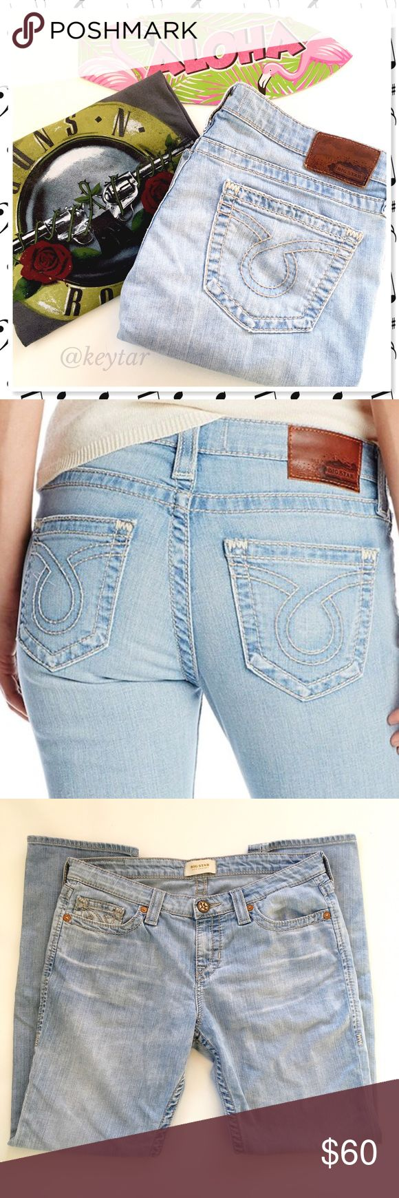 """Big Star Kate Straight Leg Jeans in Shasta Big Star's Kate straight leg in Shasta is a mid-rise vintage faded was jean with extra fading at the thighs and back. Copper tone rivets and leather logo patch with classic omega back pocket design. Soft fabric, fits like an old pair of your favorite jeans. Soft supple fabric. Originally $295.99. Grab these for a fraction of the price!  ⚡️size 33  18"""" waist (flat) 31"""" inseam 7.5"""" rise ❌ trades ❌ lowballs 👍offer button  🌟Bundle 2 or more items and…"""