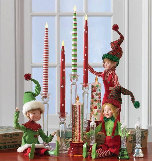 Elves and battery powered candles from RAZ