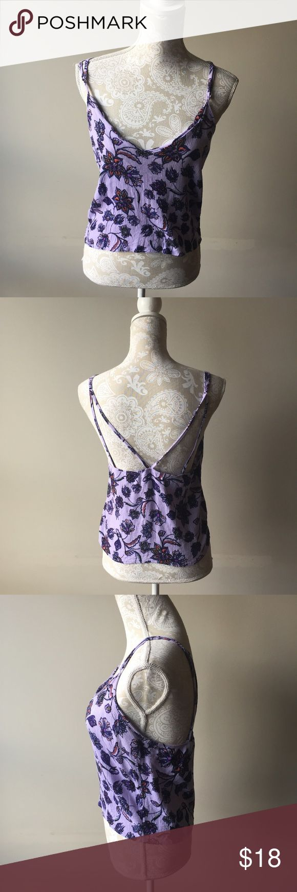 Kendall & Kylie purple strappy top Gently used purple floral tank top with multiple adjustable straps. The front neckline is scalloped. PacSun Tops Tank Tops
