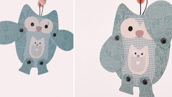 MowObjetos: Olga owl, articulated paper animal