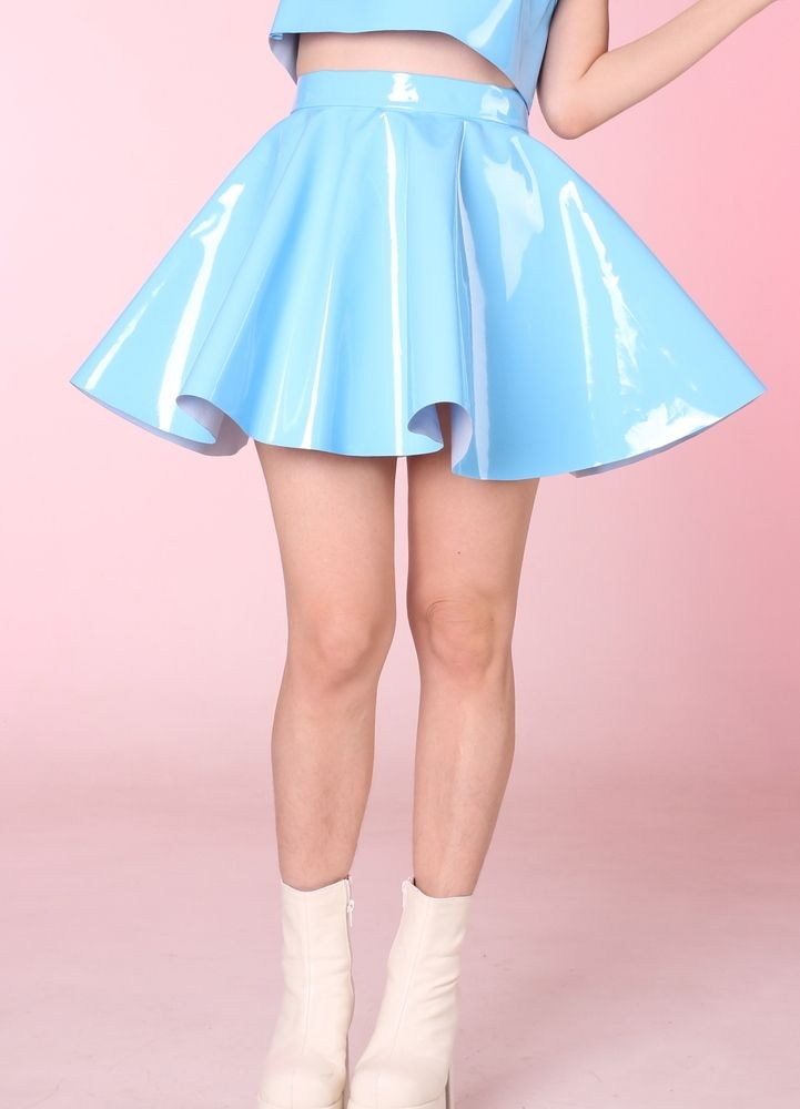 Image of Made To Order - Blue PVC Skater Skirt
