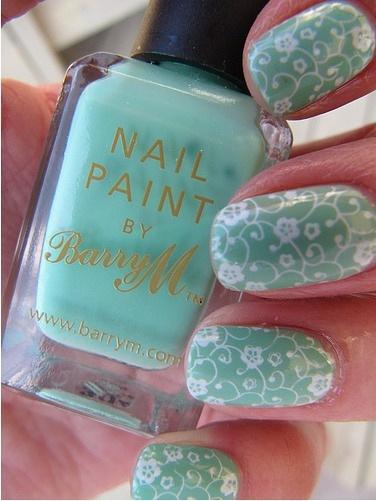 .Nails Art, Beautiful Nails, Tiffany Blue, Hair Nails Ey, Beautiful Hair Nails, Nails Painting, Beautiful Design, Nails Hair Beautiful, Green Nails