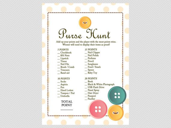 Purse Hunt game, What's in your purse game, purse game, Cute as a Button Baby Shower Games Printables, Gender Neutral Baby Shower TLC22