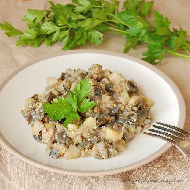 Кулинарный блог 365 дней: Баклажаны, тушенные с фаршем и картофелем, в мульт...