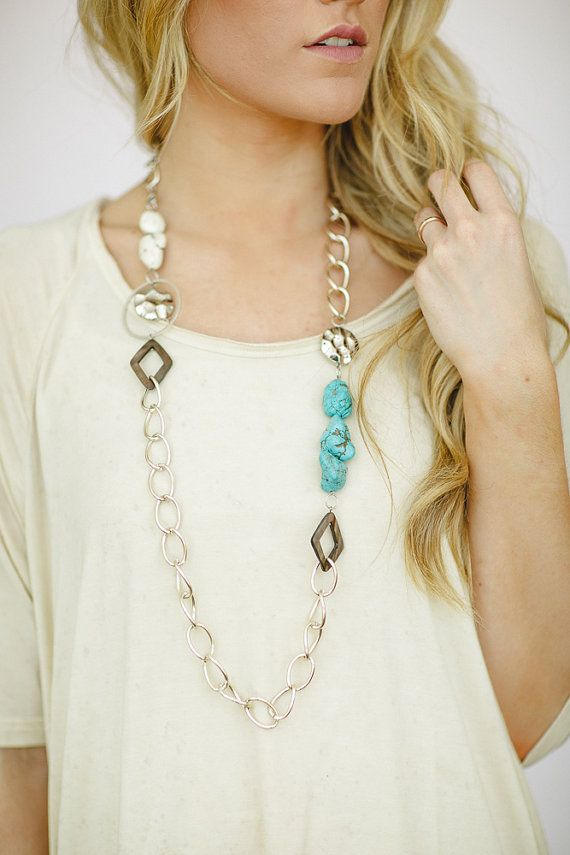 Boho Indie Long Turquoise Stone Chained Necklace Free-Spirited Women's Jewelry Bohemian Chain Necklace on Etsy, $36.99