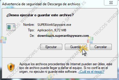 """DESCARGA:  1º vamos a descargar SUPERAntiSpyware de aquí . (En el caso de que tuvierais alguna duda preguntáis en el foro).  Al bajarlo se nos abre esta ventana y le damos a """"guardar"""",  Automáticamente se nos abre una ventana en donde elegimos el directorio """"Escritorio"""" (marcado en la imagen con un 1 y de nuevo """"guardar"""")"""