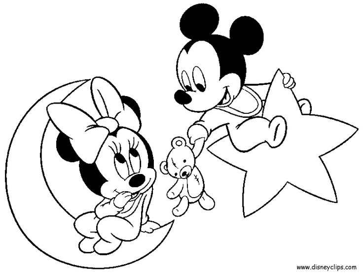 Disney Babies Coloring Pages - Mickey, Minnie, Goofy, Pluto