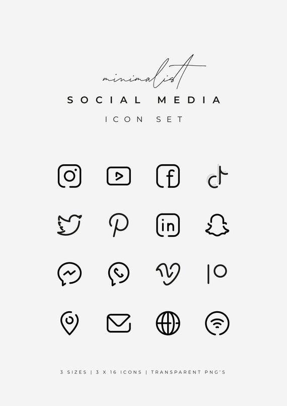 Black Social Media Icons Minimalist Social Media Logos Simple Line Icons Instagram Youtube Facebook Tiktok Patreon Etc By Senti Social Media Icons Snapchat Logo Black Social Media Icons
