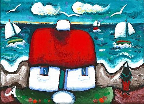 """Annie Robinson, """"On the West Wind"""" #art #cottage #cute #bright #sailboats #painting #DukeStreetGallery"""