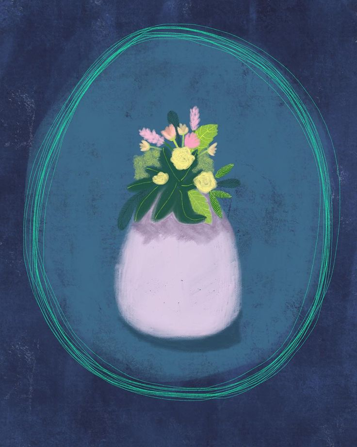 """Vase with flowers  Ali Lamontagne Illustration (@alilamontagneillustration) on Instagram: """"Playing around with florals again, while watching House of Cards tonight. 🌷🌿"""""""