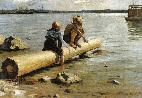 Children With Small Sailboat - Albert Edelfelt (1854 – 1905, Finnish)