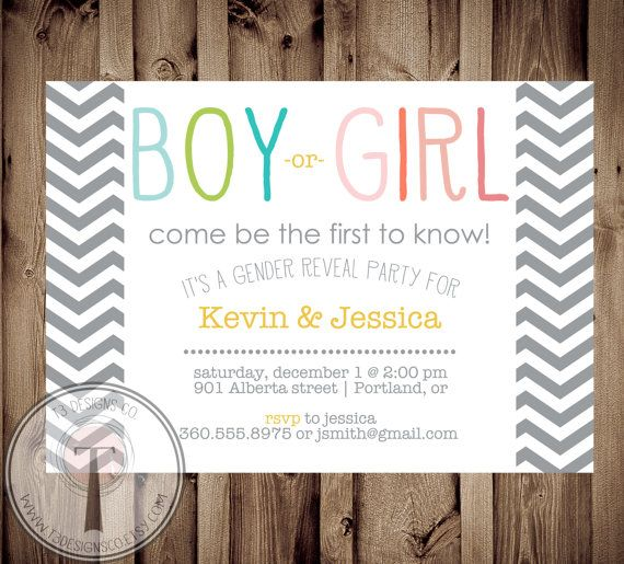 GENDER REVEAL Invitation Gender Reveal Party by T3DesignsCo