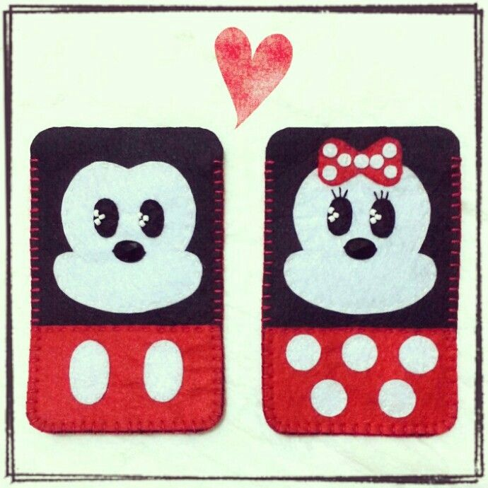 Mickey and Minnie Mouse felt mobile case #ilovehandmade