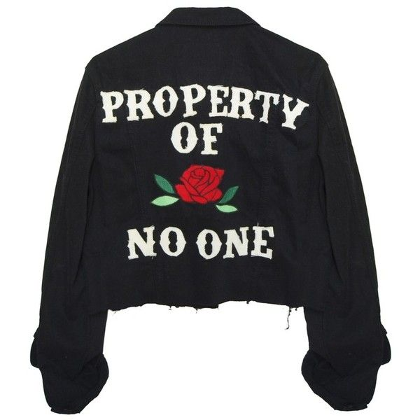 PROPERTY OF NO ONE JACKET (150 AUD) ❤ liked on Polyvore featuring outerwear, jackets, tops, jean jacket, black denim jacket, denim jacket, distressed jean jacket and black jacket