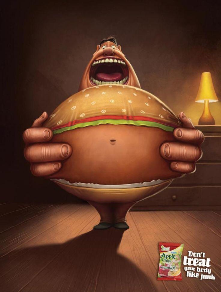 """Забавная реклама яблочных чипсов. """"Не превращай свое тело в бургер. Ешь яблочные чипсы."""" #reklalama #реклама #рекламноеагентство"""