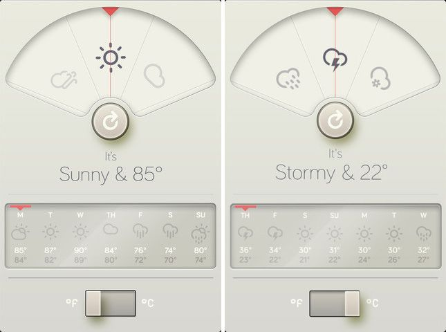 David Elgena created this beautiful Braun/Dieter Rams inspired weather iphone app called Wthr. The app is very nicely done and I'd say it's definitely worth downloading from the App Store.