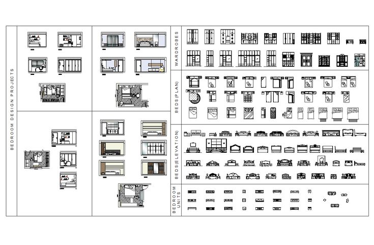Pin On Architecture Bedroom set cad block