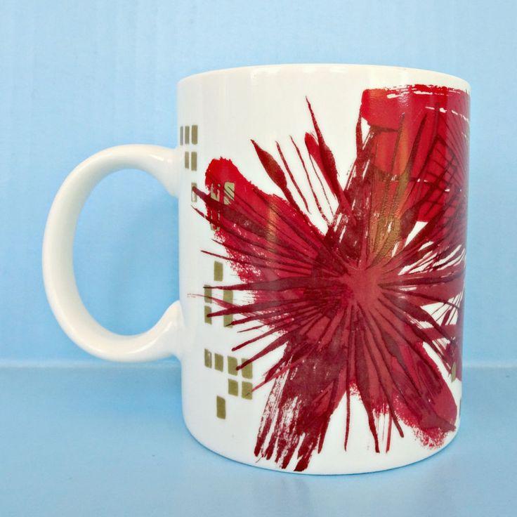 Starbucks Christmas Mug 2014 Red Gold Coffee Cup Holiday Starburst Atomic Art #Starbucks