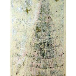 "Grafik Scheffmann Monotypi - bemalet tryk ""Tower of Babels"" 3"