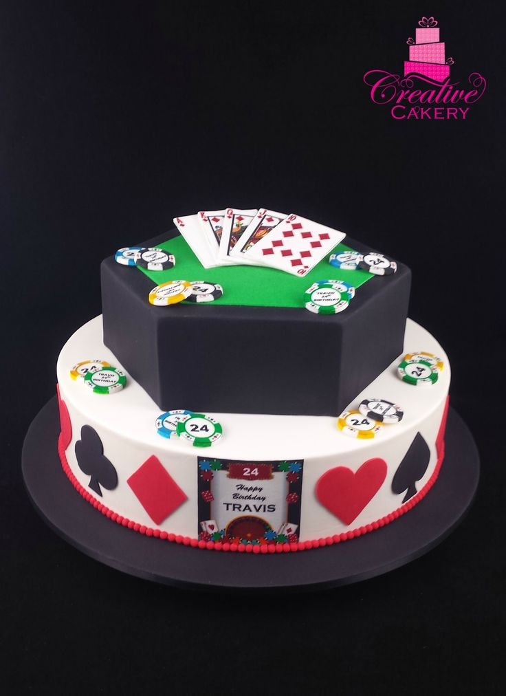 Poker Cake. (side view) This poker cake has edible images on top of fondant to decorate the cards and poker chips. The hearts, diamonds, clubs and spades on the bottom tier of the cake are made from fondant. #creativecakeryadelaide #poker #pokercake #birthdaycake