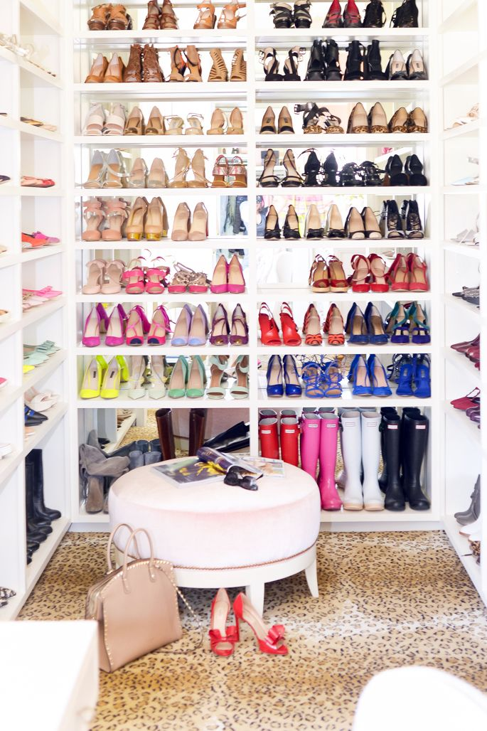 Open shelving for shoes in a walk in robe, via Pinterest