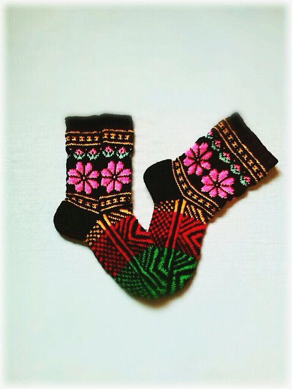 Colored Women's Socks by WarmandCozyKnits on Etsy