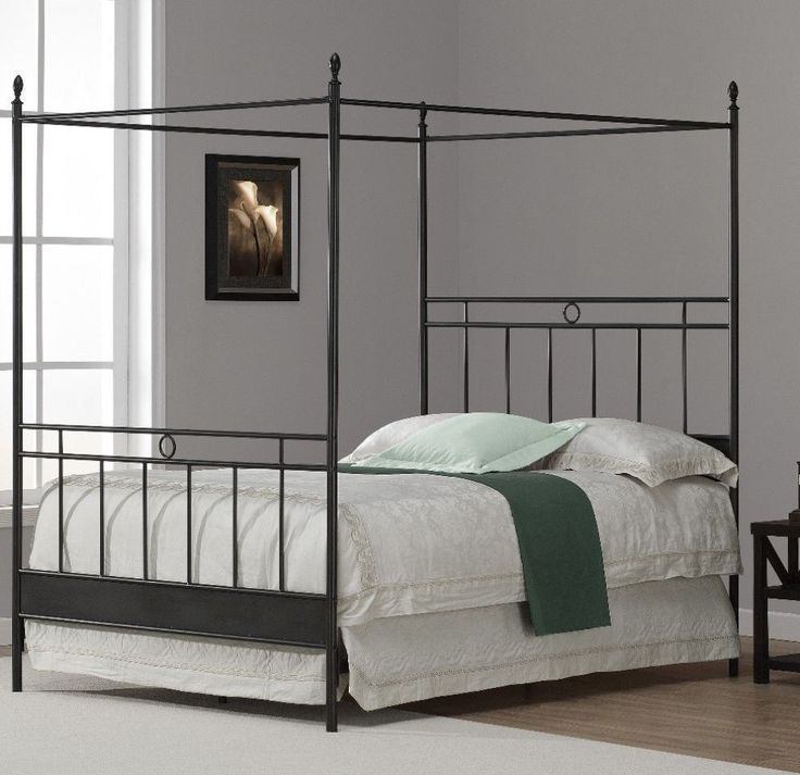 Full Metal Canopy Bed Sturdy Traditional Bedroom Decor Antique Black #bed