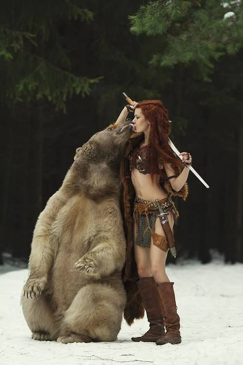 A redheaded warrior woman and her bear...nothing unusual about that!