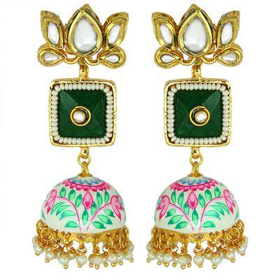 Indian Wedding Jewelry - Meenakari and Emerald Earrings | WedMeGood | Pearl and Lotus Tops with Hanging Jhumkis #wedmegood #indianbride #indianwedding #meenakari #emerald #lotus #pearl #earrings #indianjewelry #jewelry